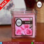 เทียนหอมในแก้วใสเหลี่ยมใหญ่ กลิ่น กุุหลาบ ROSE Scented Glass Candle