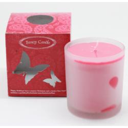 เทียนในแก้ว - กล่องสีแดง รูปผีเสื้อ (Filled Glass Candle - Style Scent)