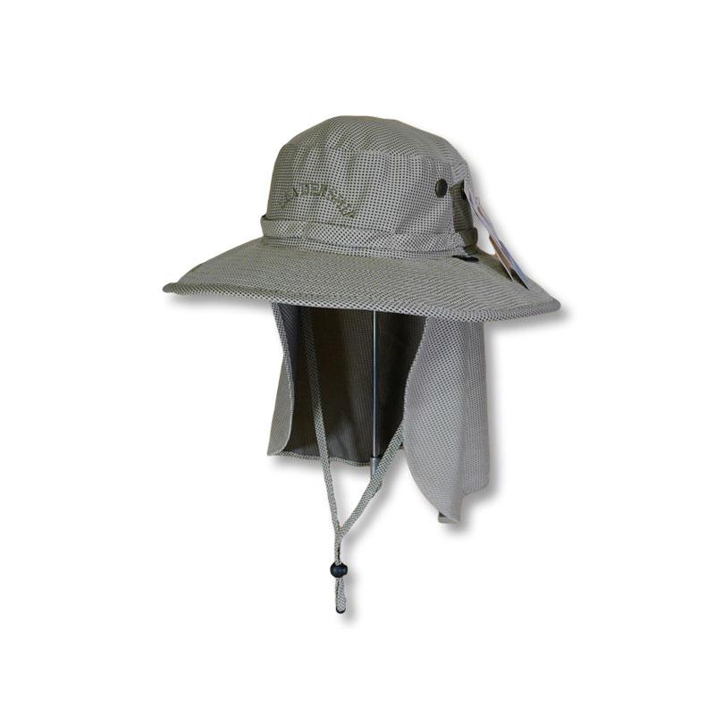 หมวกเดินป่า หมวกตกปลา หมวกปีกรอบปิดคอ แอนตี้แบคทีเรีย (สีกากี) by Season Tales