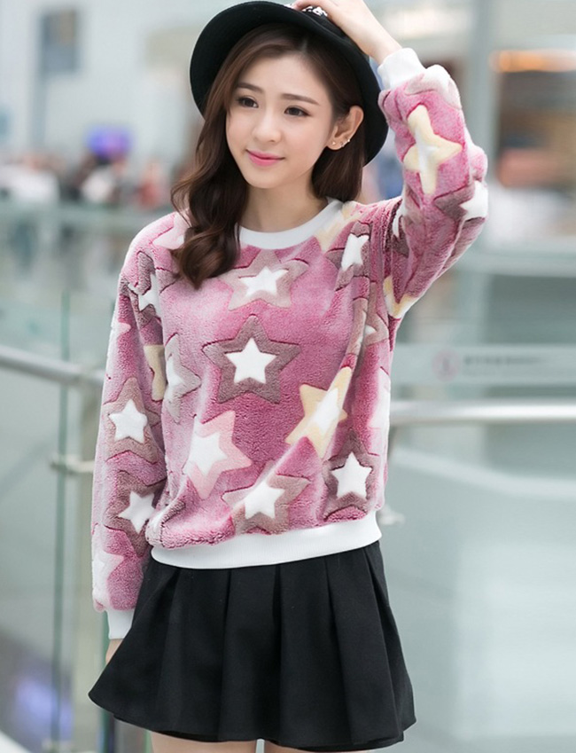 เสื้อแฟชั่นเกาหลี เสื้อแขนยาวน่ารักๆ สีม่วง ลายน่ารักๆ ผ้าขนนุ่มสบาย คอกลม แขนยาว