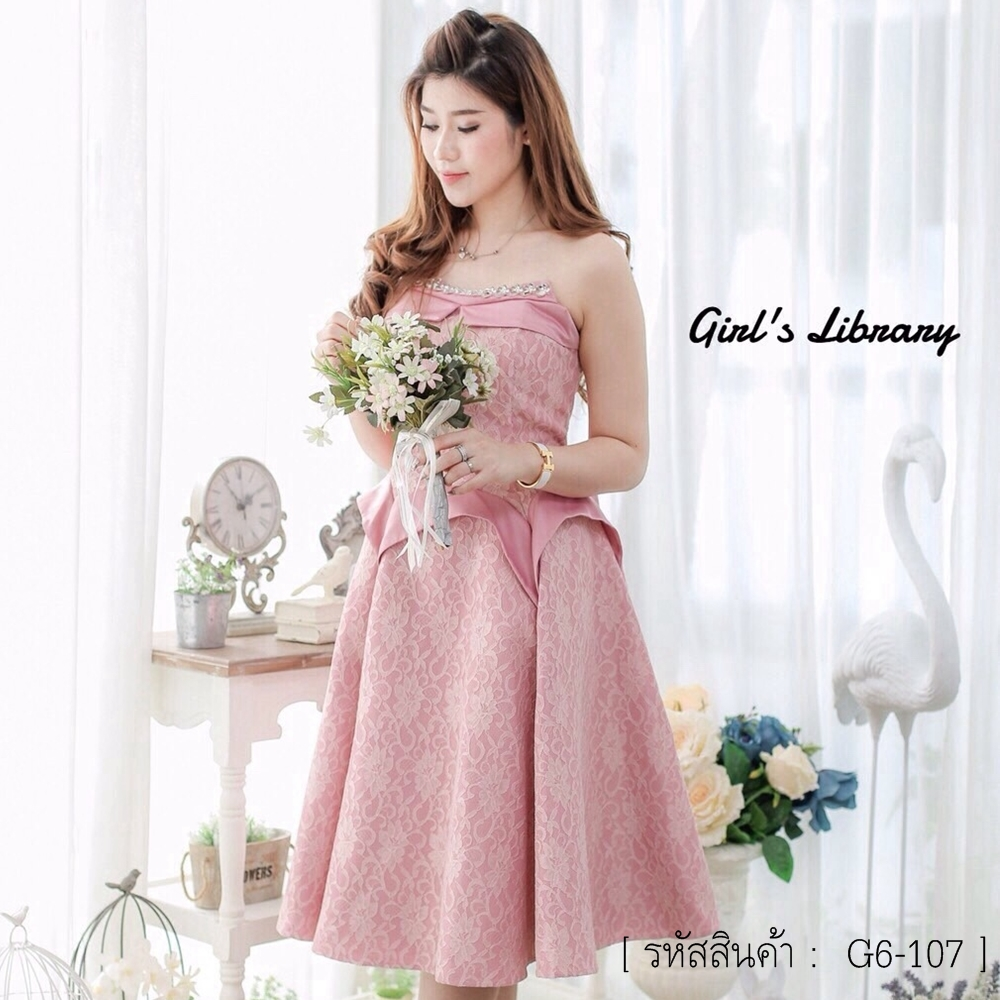 ชุดเดรสสวยหรูสีชมพู เกาะอก ผ้าลูกไม้เกรดพรีเมี่ยม ชุดสวยเหมือนแบบ