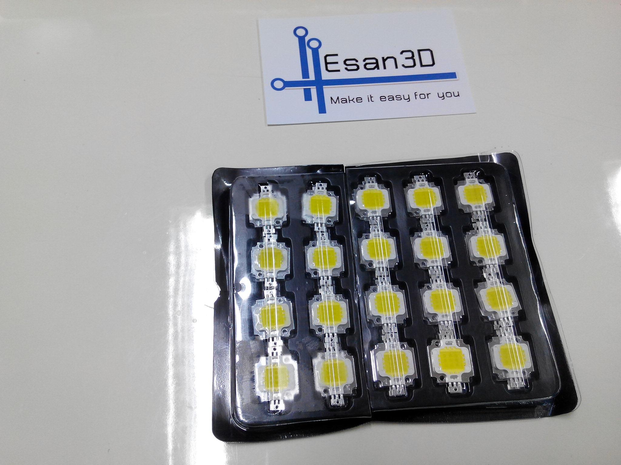 10W High power LED แสงขาว 900mA แรงดัน 9 -12V อัตราความสว่าง 800-900LM