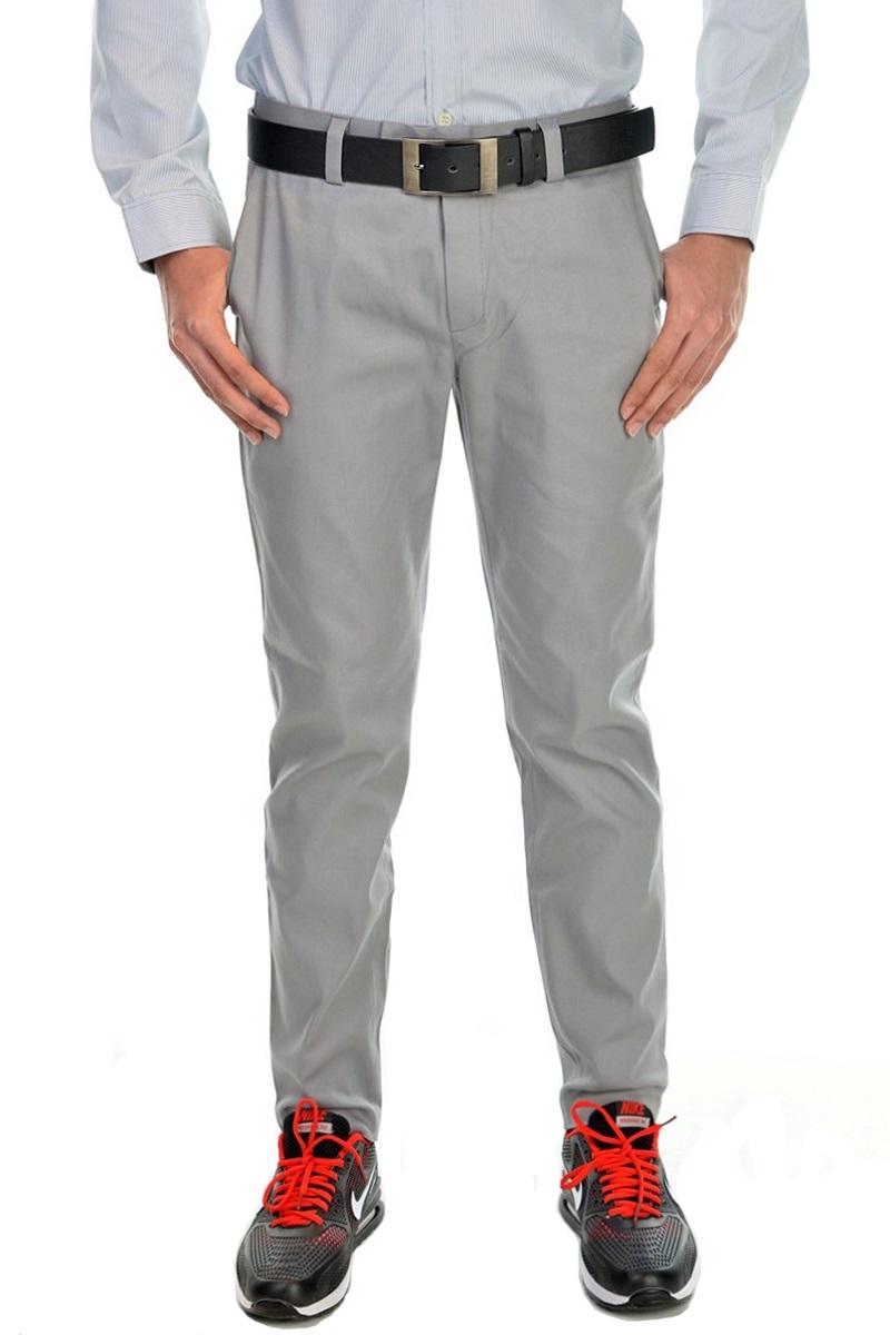 กางเกงสแล็คผู้ชายสีเทาควันบุหรี่ ผ้ายืด ทรงกระบอกเล็ก