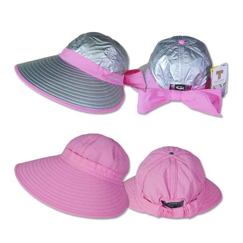 หมวกกันUV หมวกกอล์ฟ กันแดด ใส่ได้2ด้าน มีโบว์ (สีเงิน/ชมพู) by Season Tales