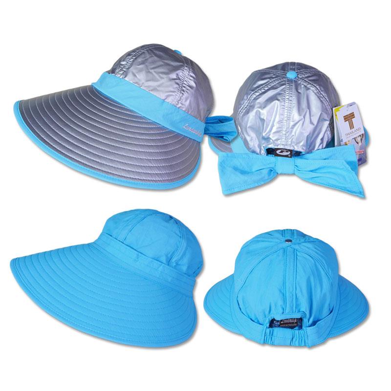 หมวกกันUV หมวกกอล์ฟ กันแดด ใส่ได้2ด้าน มีโบว์ (สีเงิน/ฟ้า) by Season Tales