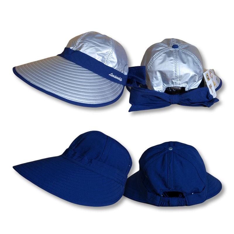 หมวกกันUV หมวกกอล์ฟ กันแดด ใส่ได้2ด้าน มีโบว์ (สีเงิน/กรมท่า) by Season Tales