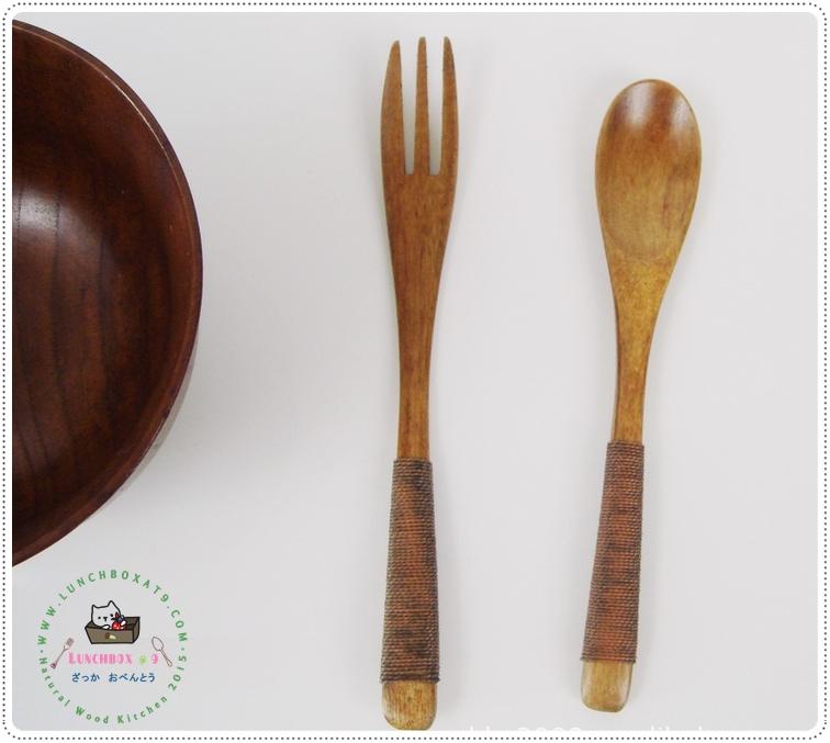Small Wood Fork Spoon Set - ชุดช้อนส้อมไม้ ขนาดเล็ก