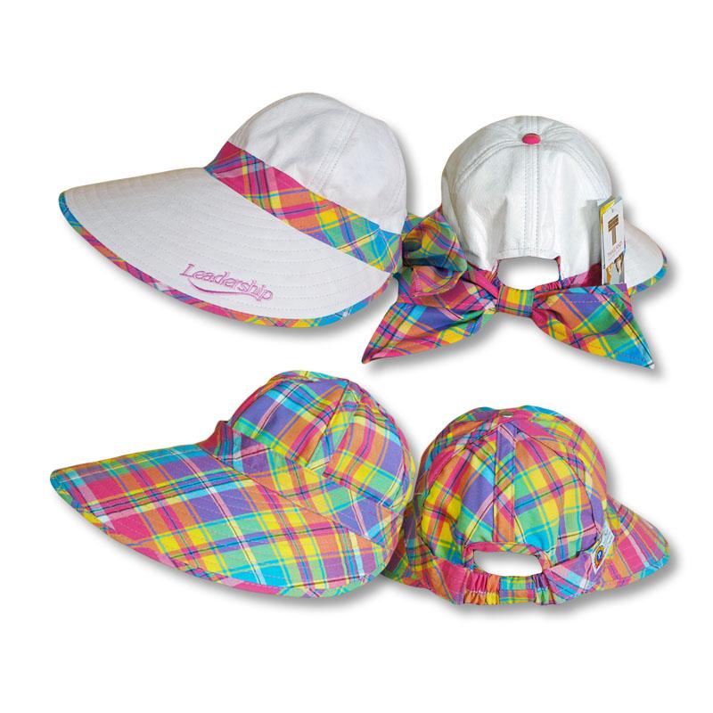 หมวกกอล์ฟ กันUV ใส่ได้2ด้าน สีขาว/ลายสก๊อตสีชมพู by Season Tales