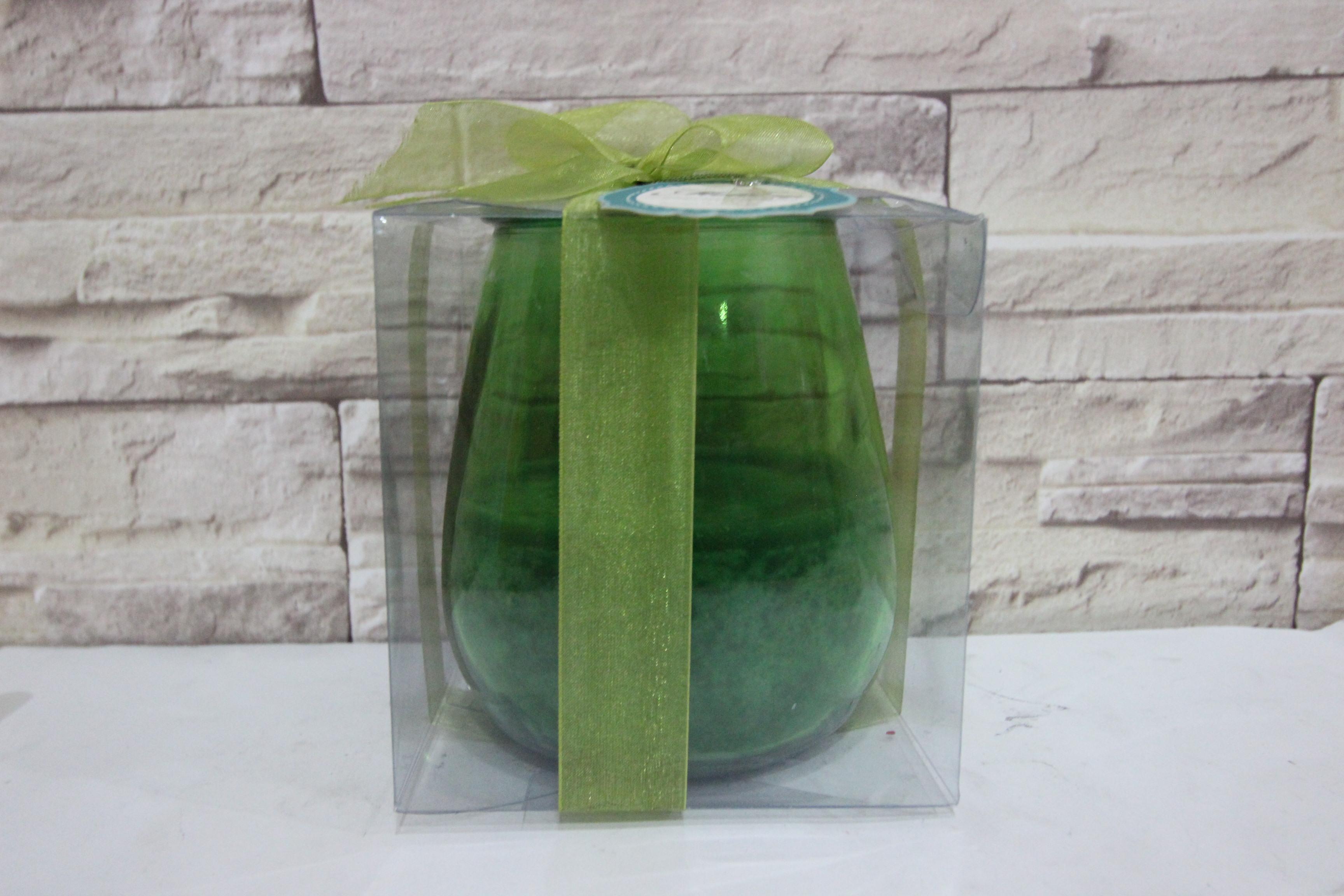 เทียนในแก้วเขียว เทียนหอมตกแต่งบ้าน เทียนหอมกลิ่น Wreath (Filled Outdoor Glass Candle)