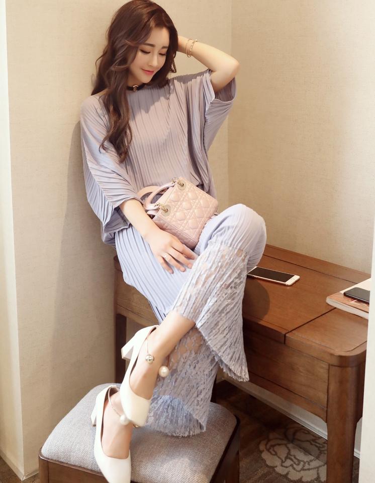 ชุดเซ็ทเสื้อ-กางเกงขายาวสีเทา