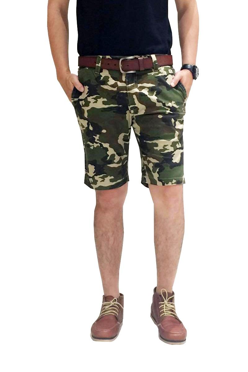 กางเกงขาสั้นผู้ชายลายพรางเขียว