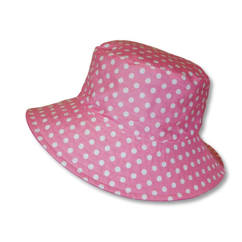 หมวกปีกรอบ Bucket ลายจุด ใส่ได้2ด้าน (สีชมพูอ่อน)