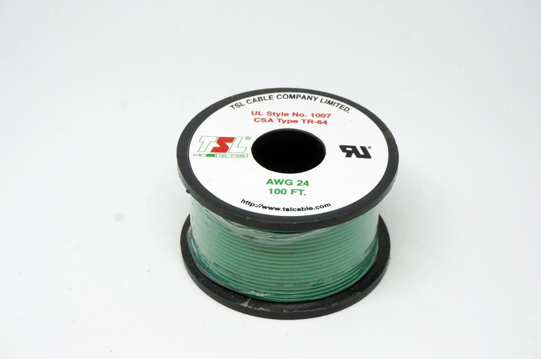 สายไฟสีเขียว AWG24 (30m)