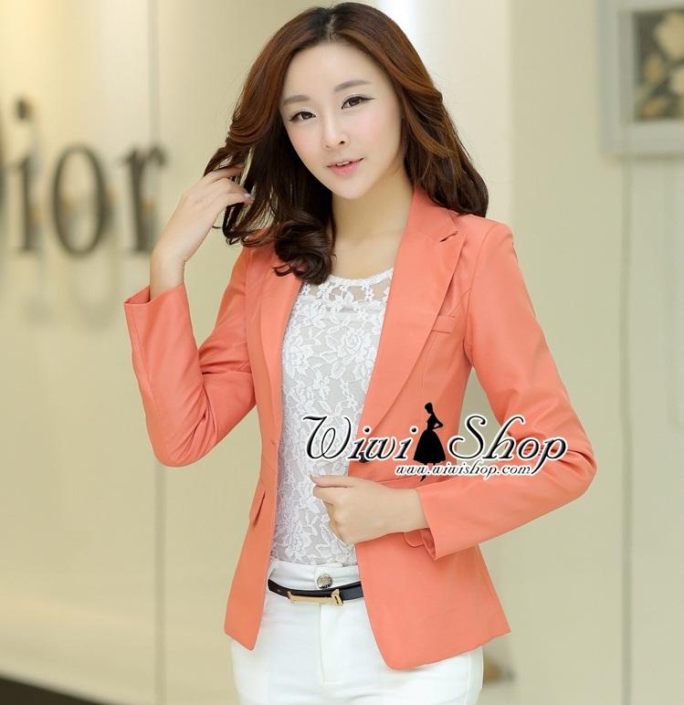 พร้อมส่ง !! เสื้อสูททำงานผู้หญิงสีส้ม ลุคสาวทำงานน่ารัก สดใส ดูเป็นทางการ