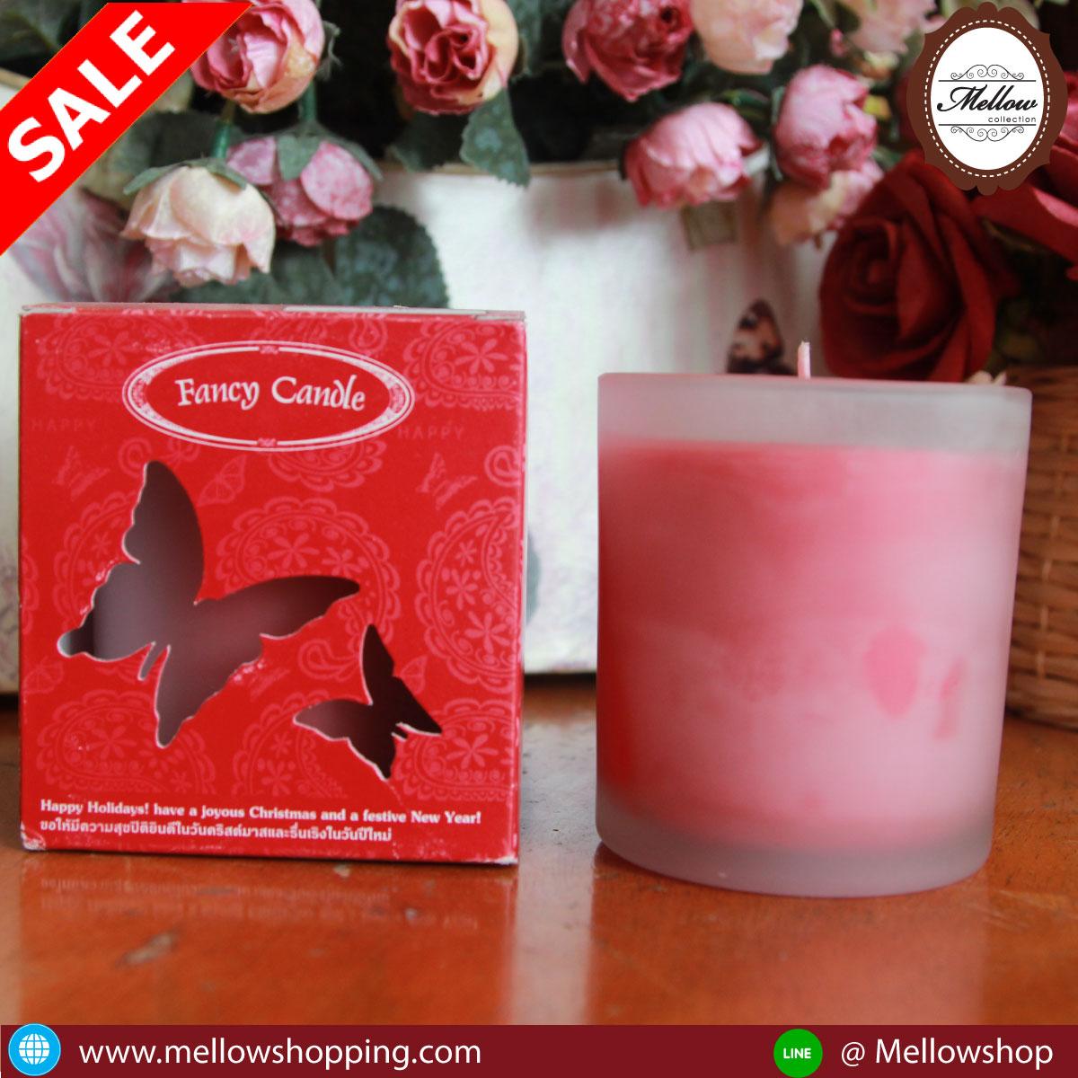 เทียนหอมในแก้วอย่างดี 180 กรัม กลิ่น กุหลาบ Rose (Glass Candle)