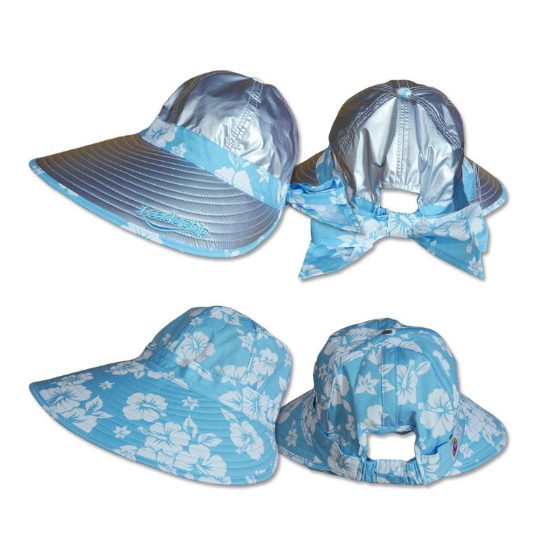 หมวกกันUV หมวกกอล์ฟ ใส่ได้2ด้าน มีโบว์ (สีเงิน/ลายดอกไม้ฟ้า) by Season Tales