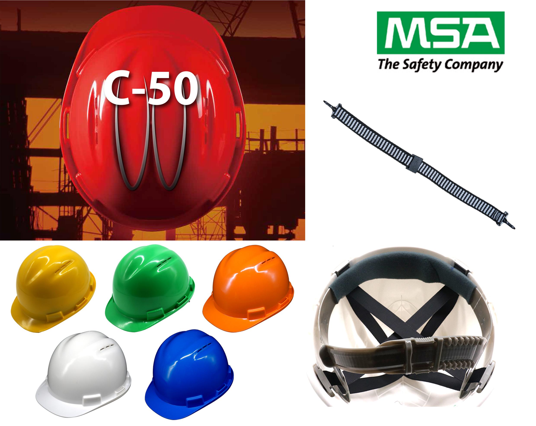 หมวกนิรภัย safety Helmet C-50 Vent Cap โครงรองในปรับเลื่อน สายรัดคาง 2 จุด