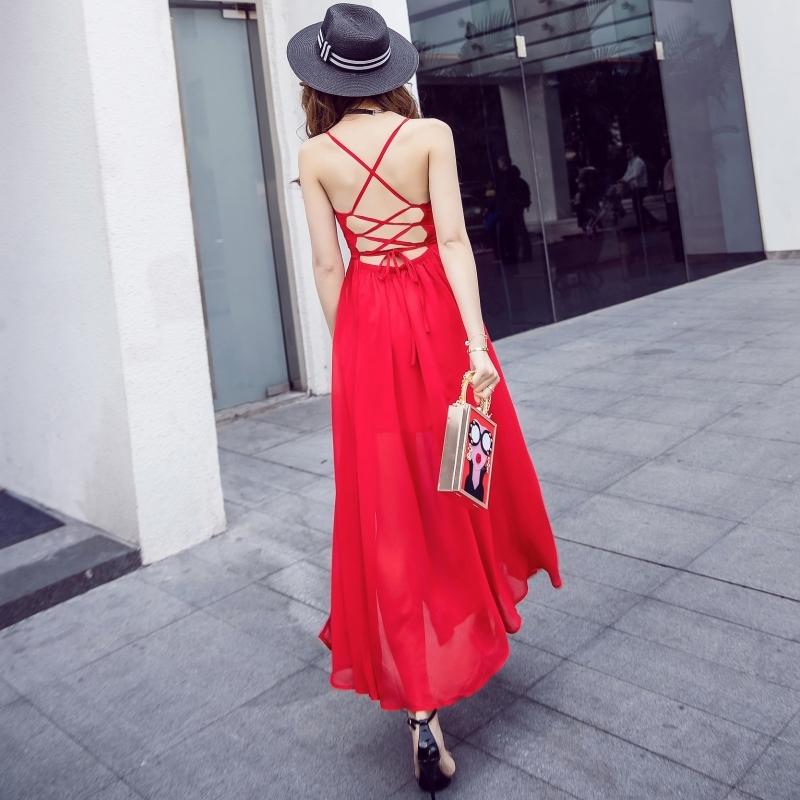 ชุดเดรสยาวสีแดง เปิดหลัง ผ้าชีฟอง ลุคสวยเก๋ ดูดี แอบเซ็กซี่เบาๆ แฟชั่นริมทะเล ชุดไปเที่ยวทะเลสวยๆ