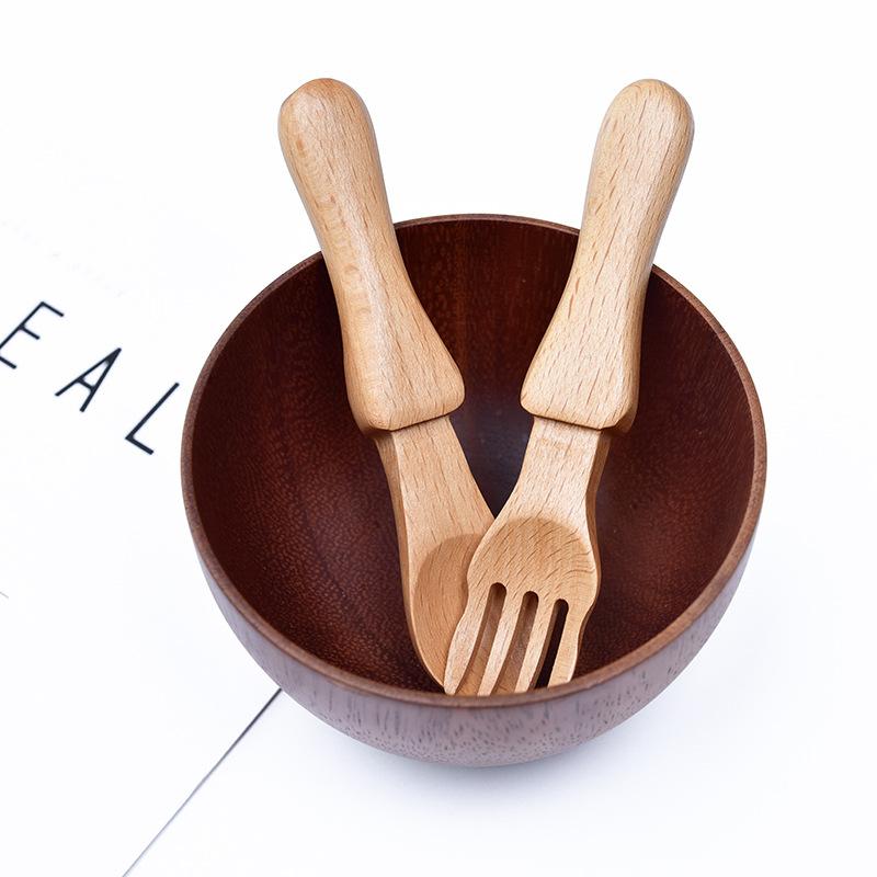 Small Japanese Spoon & Fork Set ช้อนส้อมไม้ญี่ปุ่น ขนาดเล็ก