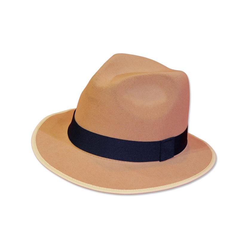 """หมวกปานามา Fedora (สีเบจ -ไม่มีโบว์) ปีกกว้าง 2"""" by Season Tales"""