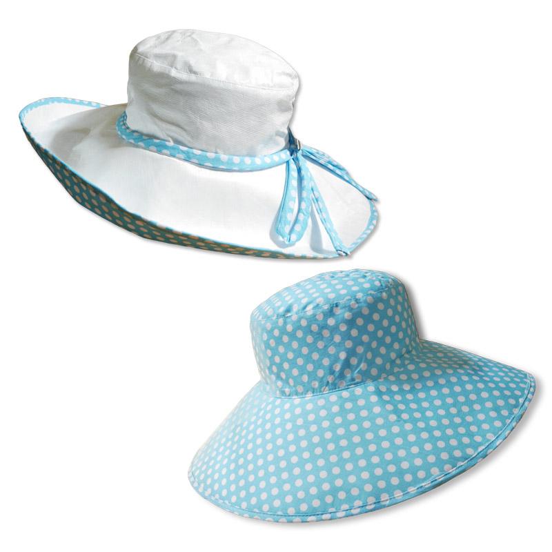หมวกปีกรอบ กัน UV สีขาว/ฟ้าอ่อนจุด กว้างพิเศษ 5นิ้ว (ใส่ได้2ด้าน) by Season Tales