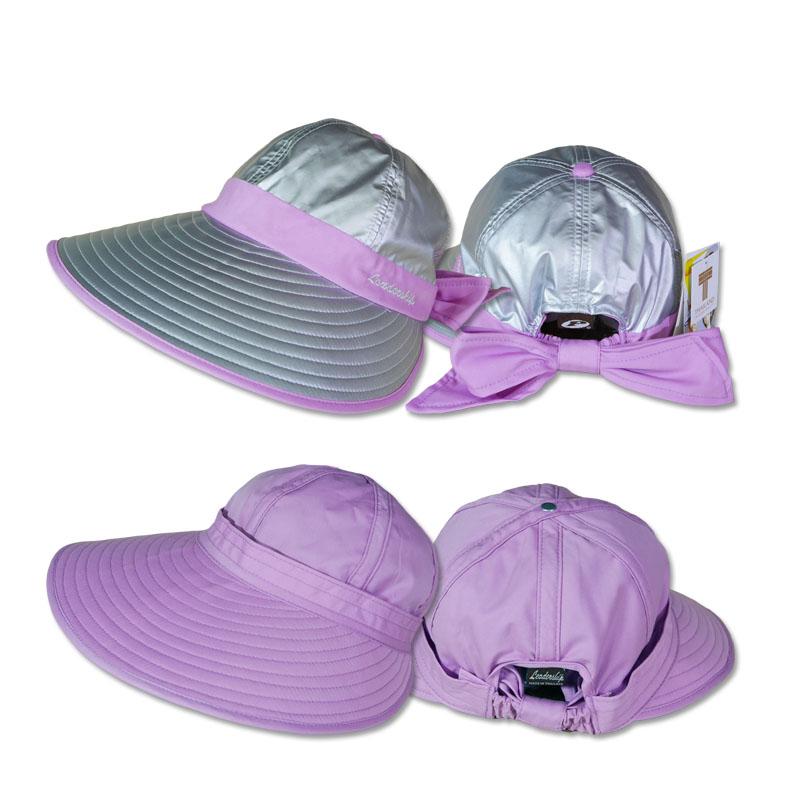 หมวกกันUV หมวกกอล์ฟ กันแดด ใส่ได้2ด้าน มีโบว์ (สีเงิน/ม่วง) by Season Tales