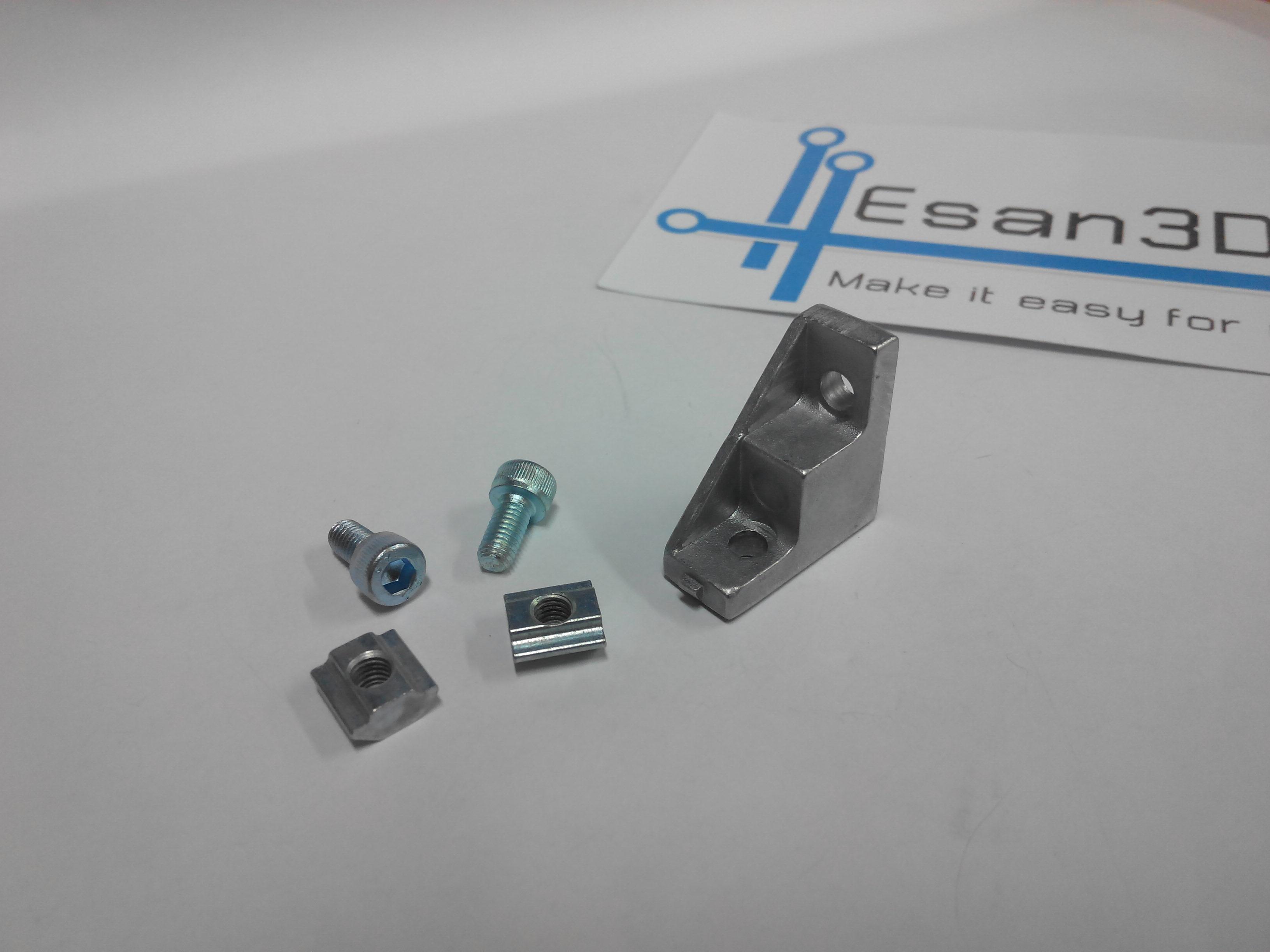 Bracket D 20 สำหรับอลูมิเนียมโปรไฟล์ 2020 (เล็ก) พร้อมชุดน็อตยึด T-Nut M5