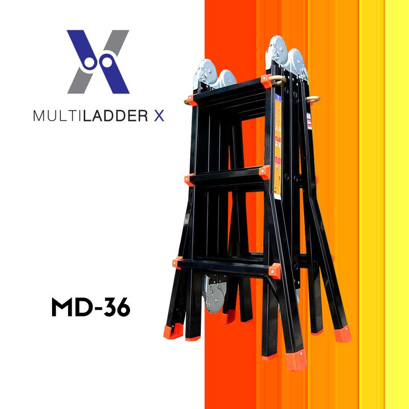 บันไดอลูมิเนียม เอนกประสงค์ 4 พับ Advance MD-36 ทรงพาด ยาว 5 เมตร, ทรง A 2.5 เมตร