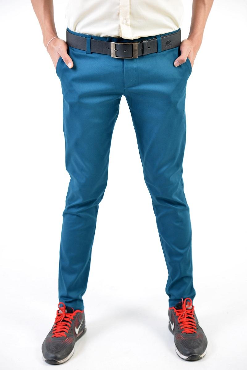 กางเกงสแล็คผู้ชายสีฟ้าน้ำทะเล ผ้ายืด ขาเดฟ