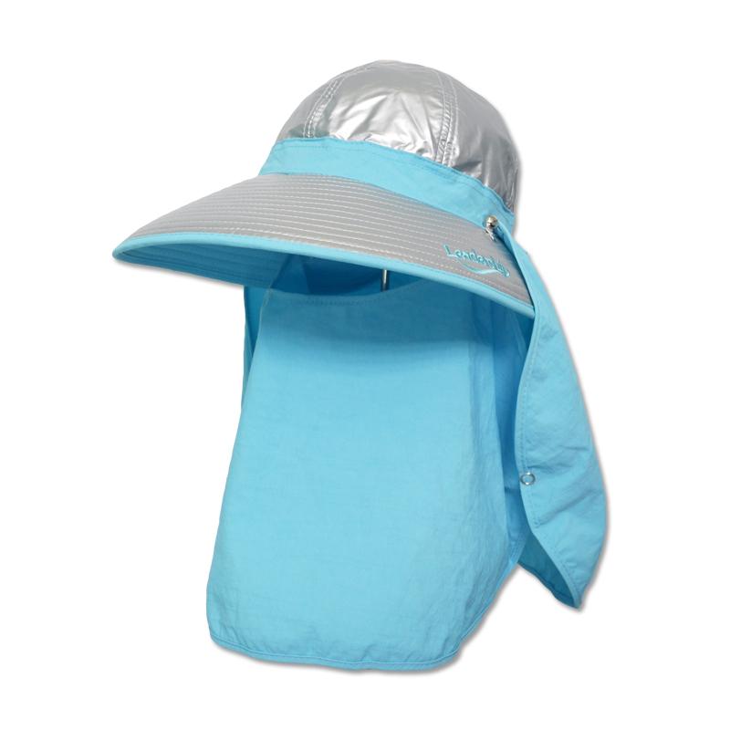 หมวกกันUV กันยูวี หมวกปิดหน้า ปิดคอ สีฟ้า มีผ้า2ชิ้น หมวกคลุมหน้า by Season Tales