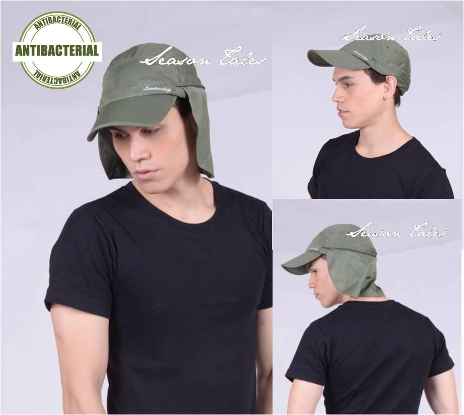 หมวกตกปลา หมวกเดินป่า หมวกแก๊ปปิดคอ เก็บปลายผ้าได้ แอนตี้แบคทีเรีย (สีเขียวขี้ม้า) by Season Tales
