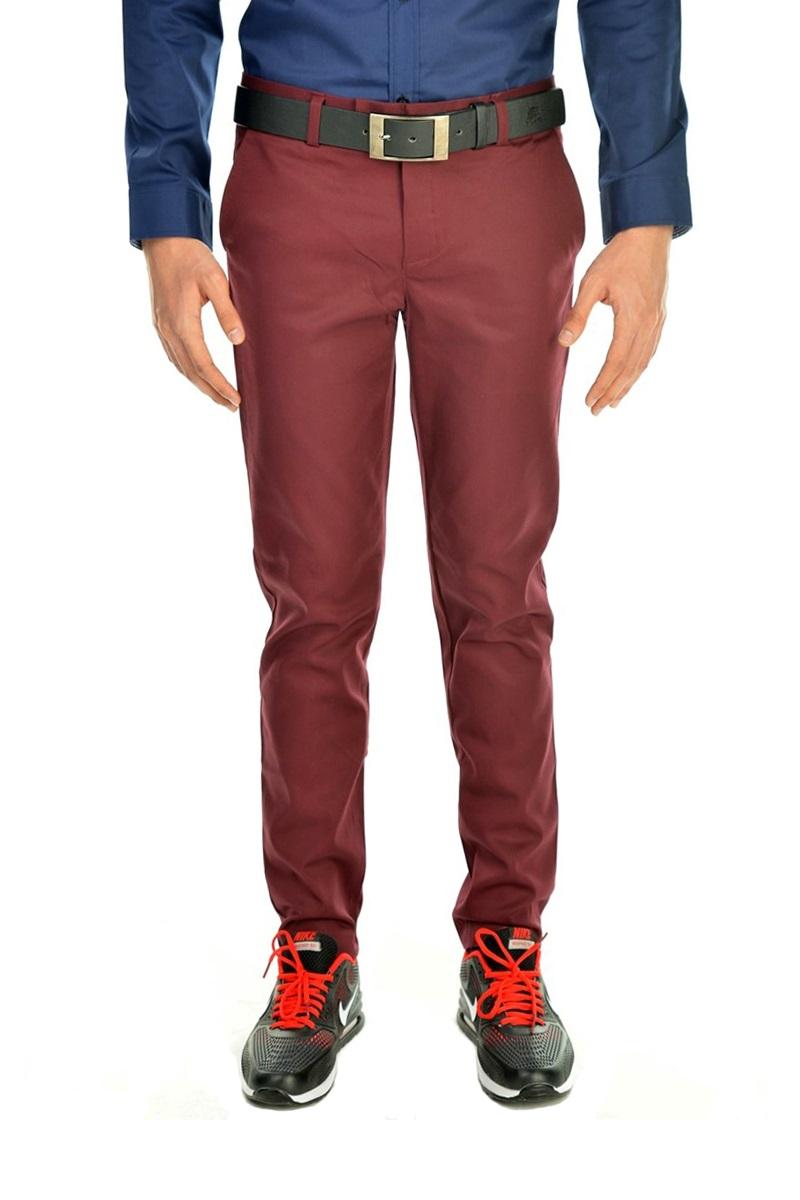กางเกงสแล็คผู้ชายสีแดงเลือดหมู ผ้ายืด ทรงกระบอกเล็ก
