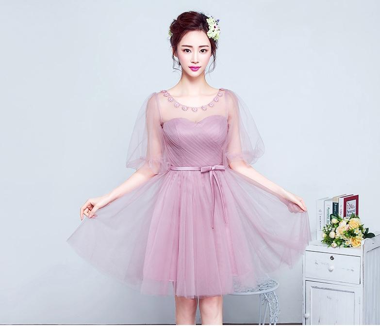 ชุดไปงานแต่งงาน ชุดออกงานสีชมพู