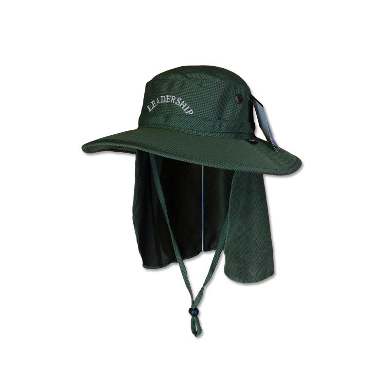 หมวกเดินป่า หมวกตกปลา หมวกปีกรอบปิดคอ แอนตี้แบคทีเรีย (สีเขียวขี้ม้า) by Season Tales