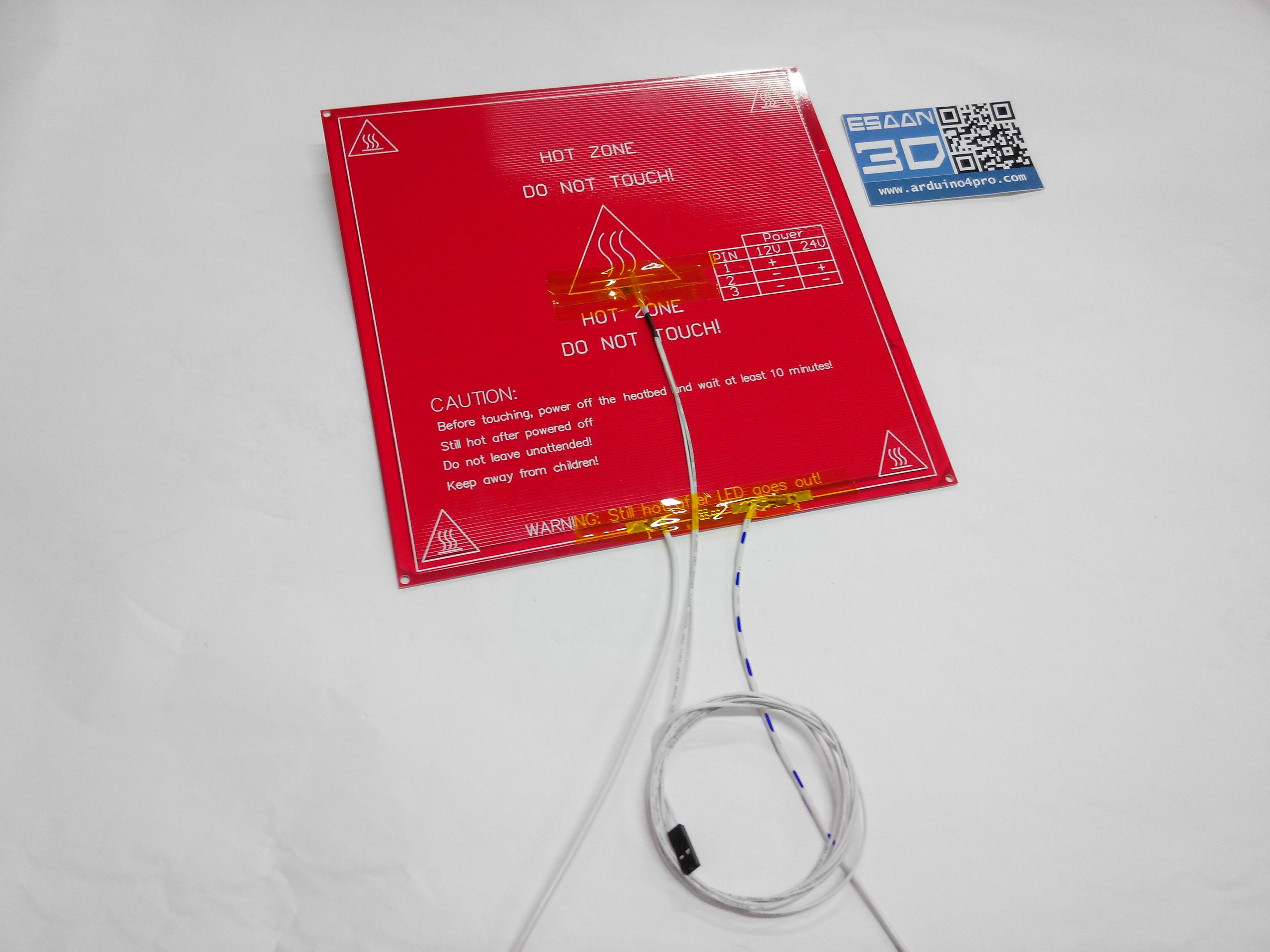 MK2B Dual Power PCB Heat Bed + 100K ohm NTC 3950 Thermistors + ชุดสายไฟยาว 50cm