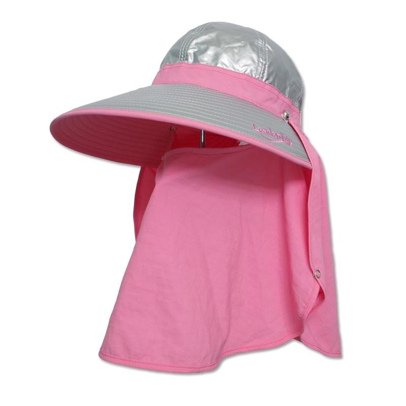 หมวกกันUV กันยูวี หมวกปิดหน้า ปิดคอ สีชมพู มีผ้า2ชิ้น หมวกคลุมหน้า by Season Tales