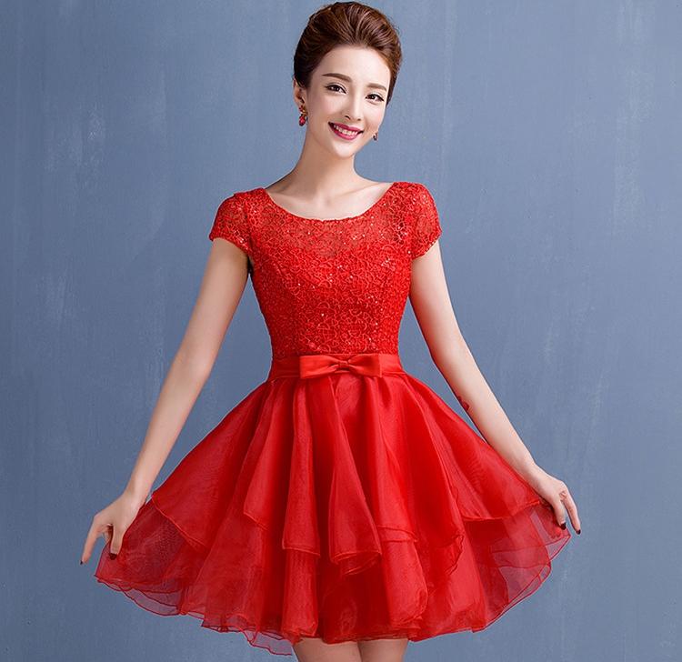 ชุดไปงานแต่งงาน ชุดออกงานสีแดง