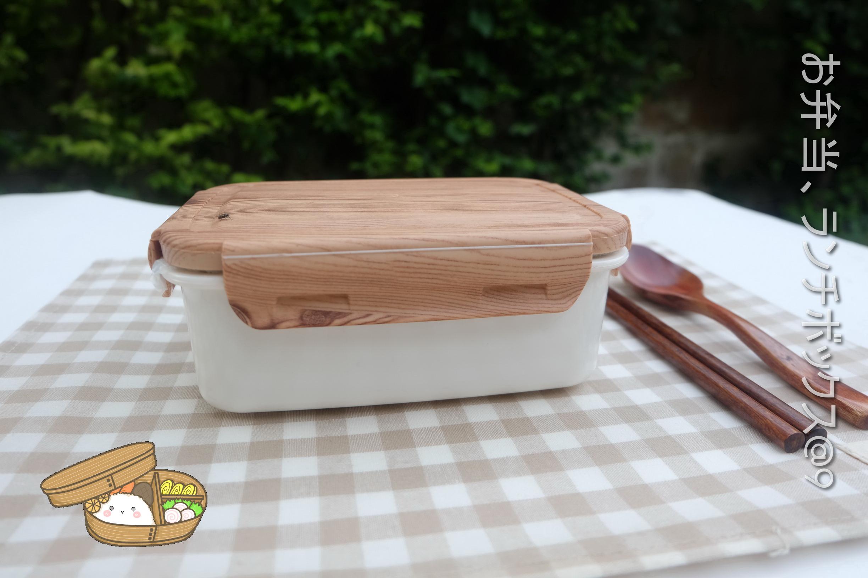 Stainless Bento Box Japanese-style Set - เซตกล่องเบนโตะสแตนเลส แบบฝาล็อคลายไม้ รวมชุดช้อนตะเกียบ