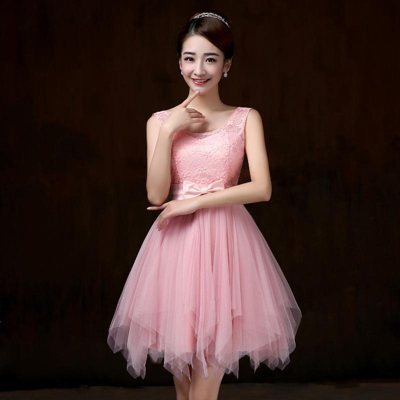 ชุดราตรีสั้น สีชมพู แขนกุด เอวแต่งโบว์สวยๆ แนวหวาน น่ารัก