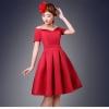 ชุดเดรสออกงาน ชุดไปงานแต่งงานสีแดง เปิดไหล่ ผ้าไหมอิตาลี