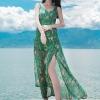 ชุดเดรสยาวสีเขียว สายเดี่ยว ผ้าชีฟอง แฟชั่นริมทะเลสวยๆ ชุดไปเที่ยวทะเล