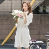 ชุดเดรสสั้น แซกสั้น สีขาว แนวเกาหลีสไตล์โบฮีเมียนน่ารักๆ