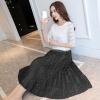 ชุดเดรสยาวออกงานสีดำ SET 2 ชิ้น เสื้อลูกไม้ + กระโปรงยาว