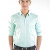 เสื้อเชิ้ตผู้ชายสีเขียวมิ้นท์ ผ้าคอตตอน