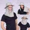 หมวกกันแดด หมวกปีกรอบ คลุมหน้า ปิดหน้า ปรับสูงต่ำได้ แอนตี้แบคทีเรีย หมวกเดินป่า ตกปลา (สีกากี) by Season Tales