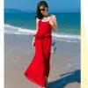 ชุดไปเที่ยวทะเล เดรสกางเกงขายาวสีแดง เปิดหลัง สายเดี่ยว ผ้าชีฟอง