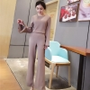 ชุดเซ็ทเสื้อแขนยาว + กางเกงขายาว สีชมพูกะปิ