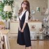 ชุดเซ็ตสีดำสวยๆ เสื้อลูกไม้สีขาว + ชุดเดรสสีดำ สวยหวานน่ารัก ดูเรียบร้อย สุภาพ
