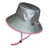 หมวกกันแดด กันยูวี UV Bucket ปีกรอบ มีสายคล้อง สีเงิน/ชมพู (ใส่ได้2ด้าน)