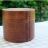 Small Round 2 stages Lacquered bending magewappa bento box กล่องข้าวเบนโตะญี่ปุ่นทรงกลมสีไม้เข้ม 2 ชั้น
